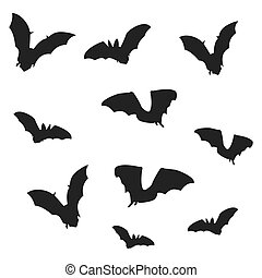 Flock of bats. Black shadows of bats on a white background....