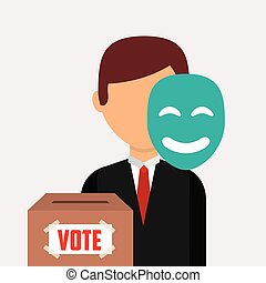 election and vote design - election candidate with mask and...