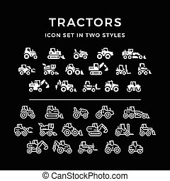 Set icons of tractors
