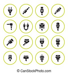 Set round icons of plugs and connectors