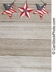 USA patriotic old flag on a stars and weathered wood...