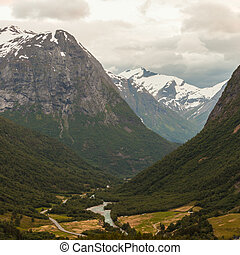 Mountains summer landscape in Norway. - Tourism vacation and...