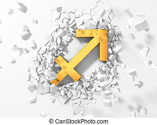 golden sagittarius symbol hitting to wall and flying pieces...