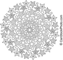 Graphic Mandala with outline stars. Zentangle inspired...
