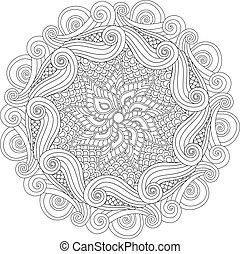 Graphic Abstract Mandala. Zentangle inspired style. Coloring...
