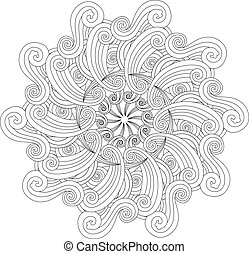 Graphic Mandala with waves and curles. Zentangle inspired...