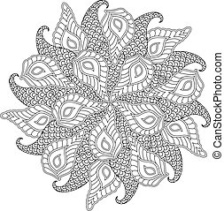 Graphic Mandala with abstract leafs and shapes . Zentangle...