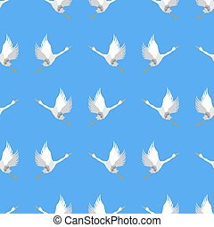 Grey Geese Seamless Pattern on Blue Background. Animal Bird...