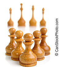 Five pawns ahead. Low depth of field