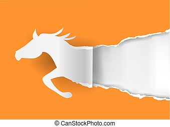 Horses ripping orange paper - Paper silhouette of running...