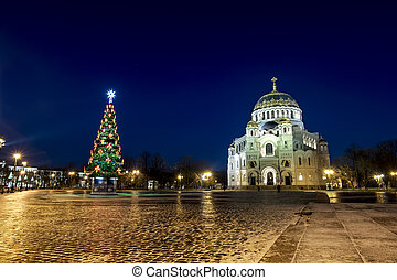 View of the Kronstadt Naval Cathedral in the Christmas...