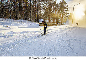 A skier run on the slopes skiing in the woods