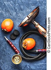 shisha with persimmon - hookah with the tobacco flavor with...
