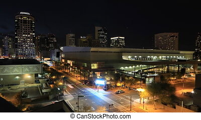Night timelapse of Phoenix downtown - A Night timelapse of...