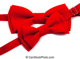 two red bow tie on an isolated white background. Big and small for dad and child.