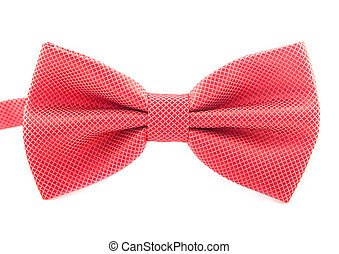 red bow tie isolated on white background.