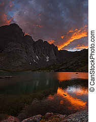 Crestone Sunset - sunset over South Colony Lake and Crestone...