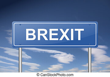 Brexit traffic sign.