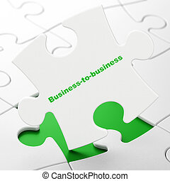 Finance concept: Business-to-business on puzzle background -...