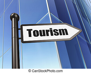 Vacation concept: sign Tourism on Building background, 3D...