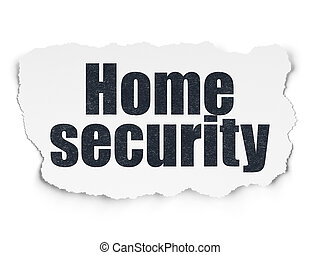 Security concept: Home Security on Torn Paper background -...