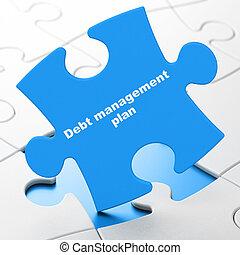 Business concept: Debt Management Plan on puzzle background...
