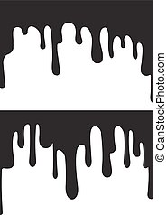 Black paint drips. Vector illustration for your design.