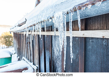 Icicle hanging from the roof of a wooden house in the winter