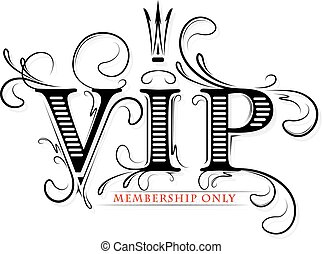 Rich decorated VIP membership only card with crown in black...