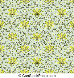 Floral vintage seamless pattern with yellow decorations....