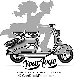 Vector illustration of vintage scooter - Elegant vintage...