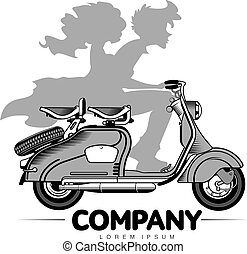 Vector illustration of vintage scooter - Elegant vintage...