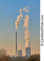 Chimneys - In winter, smoke clouds are rising from the...