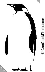 black and white linear paint draw penguin vector...