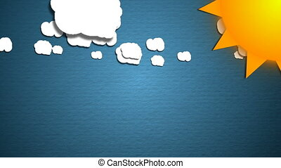 Simple cartoon clouds and sun. Fun background. Seamless loop