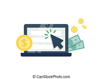Pay Per Click flat style icon. Internet advertising, online...