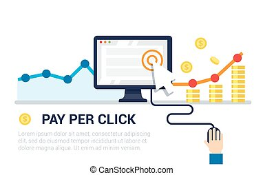Pay Per Click flat style banner. Internet advertising,...