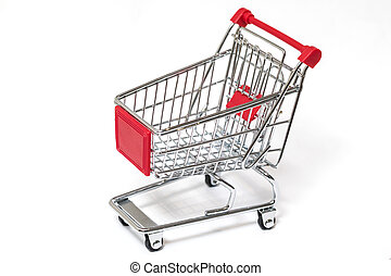Shopping cart - Red empty shopping cart isolated on white