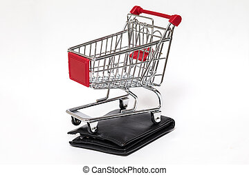 Shopping cart and wallet isolated - Shopping cart with black...