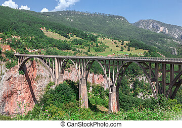 Durdevica Tara Bridge on  River, a concrete arch  over the   in northern Montenegro