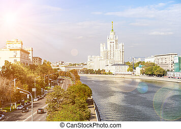 Kotelnicheskaya embankment and Moscow river - The view of...