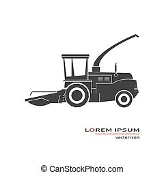 Forage harvester icon isolated on background. Vector...