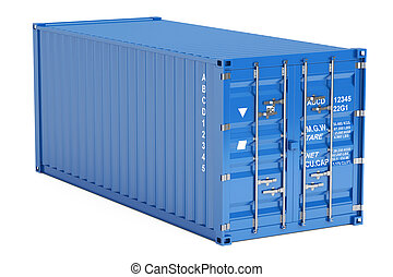 blue cargo container, 3D rendering