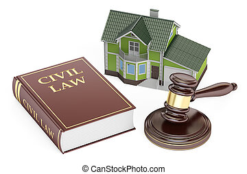 Civil law concept, house with gavel and book. 3D rendering