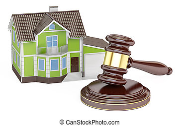 House with gavel, auction concept, 3D rendering