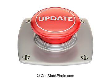 Update red button, 3D rendering isolated on white background