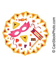 purim card. - purim card ,white background with holiday...