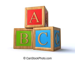 abc cubes - abc alphabet cubes over the white background (3d...