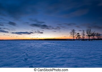 Colorful winter after sunset landscape - Beautiful winter...