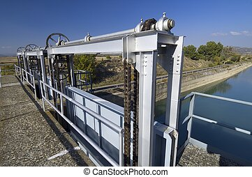 gate in an irrigation canal